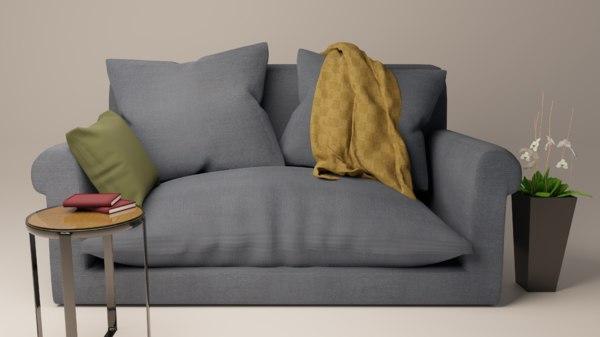 3D sofa blue