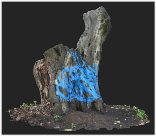 tree stump graffiti 3D model