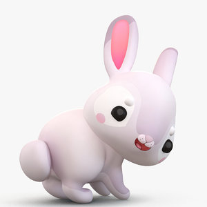 cute cartoon bunny 2 3D model
