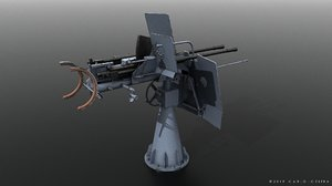 flak 38 anti-aircraft gun 3D model