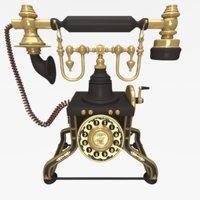 3D model antique telephone