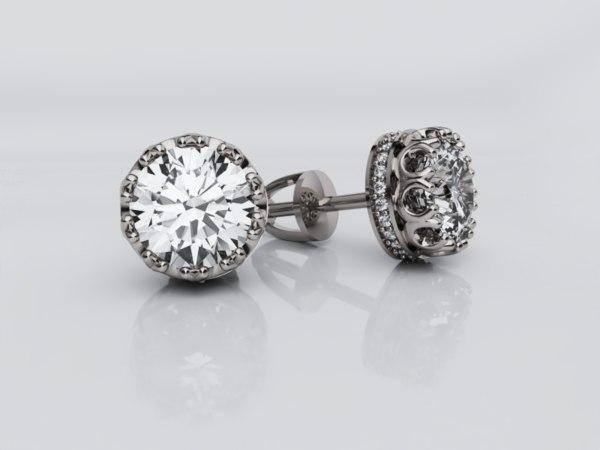 lady s crown earrings 3D model