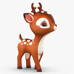 3D cute cartoon deer model