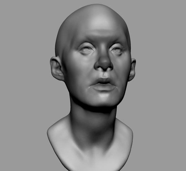3D base female head anatomy