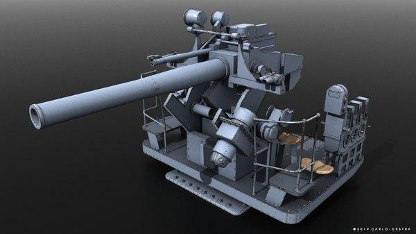 gun naval war 3D model