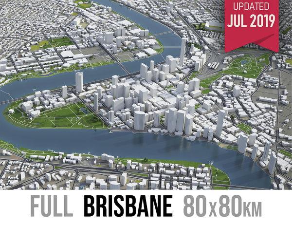 3D brisbane city area