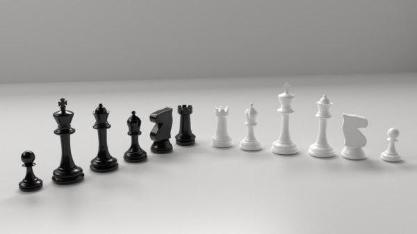 plastic chess pieces 3D model