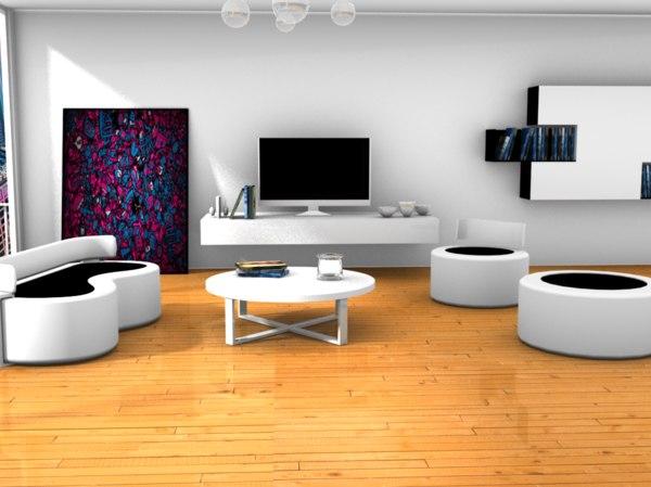3D fancy living room model