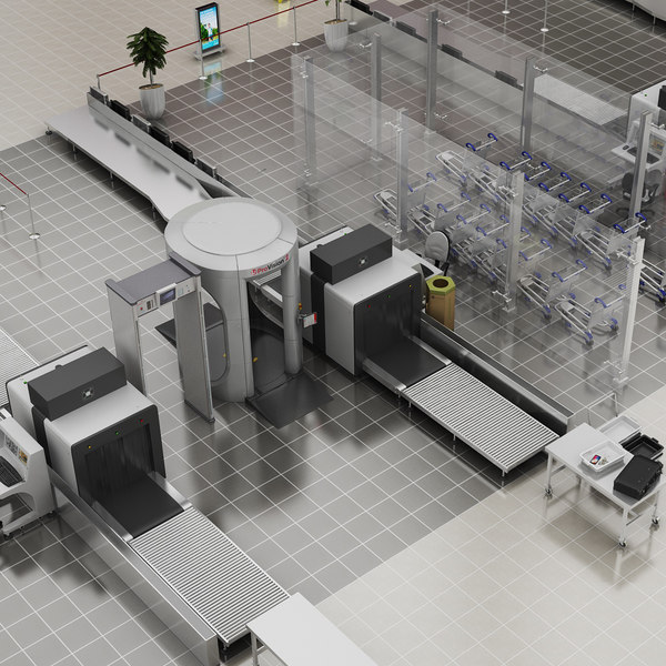 realistic airport security doors model