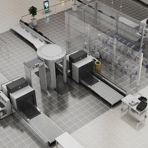 realistic airport security doors model