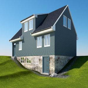 scandinavian farm house architectural 3D model