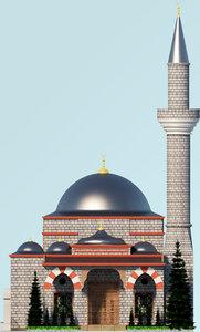 mosque landscape architectural 3D model