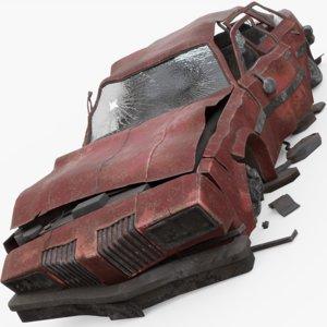 3D wrecked car model