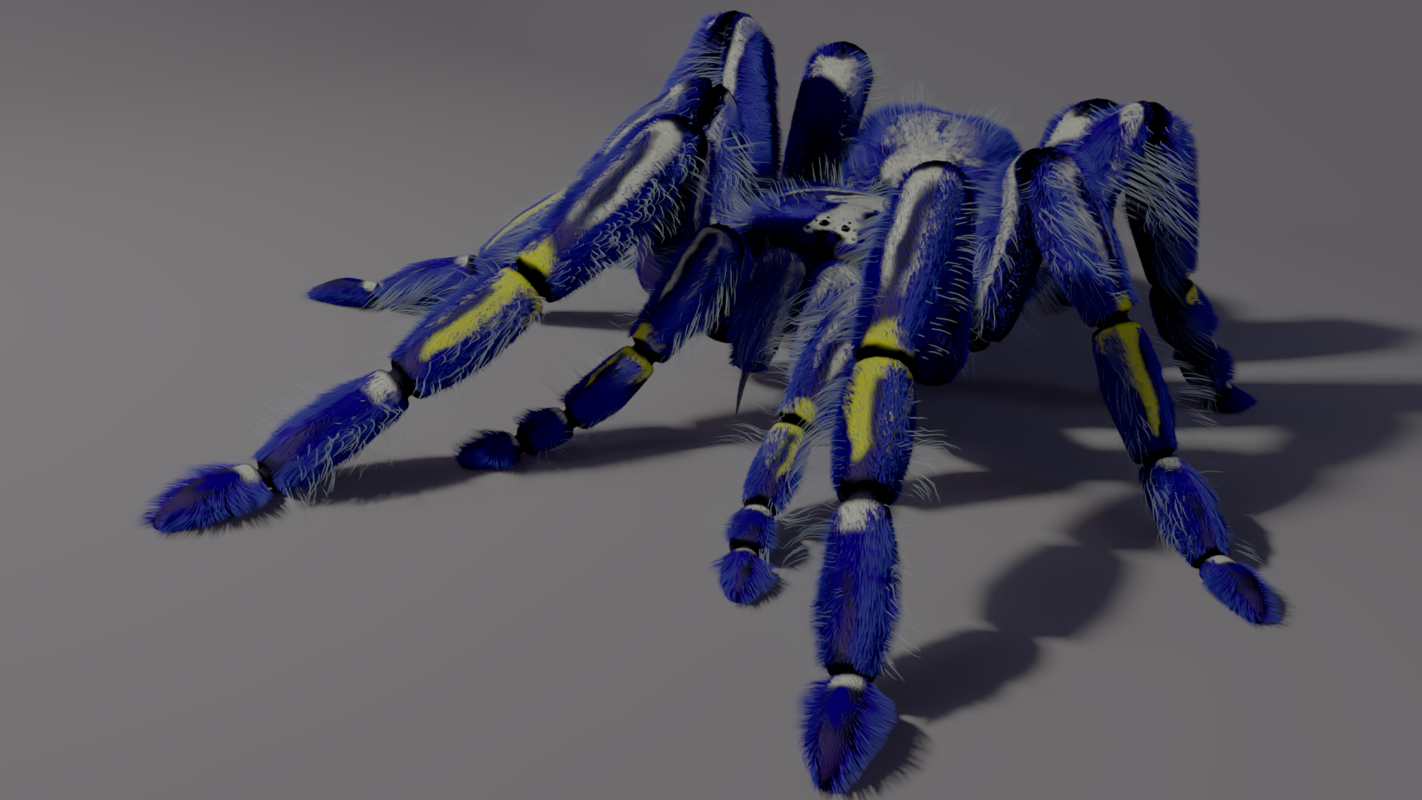 3D freaky blue spider tarantula