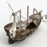 3D wrecked ship