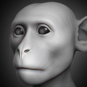 monkey head animal 2019 3D