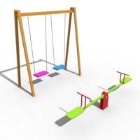 3D playground seesaw swing