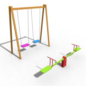 3D playground seesaw swing