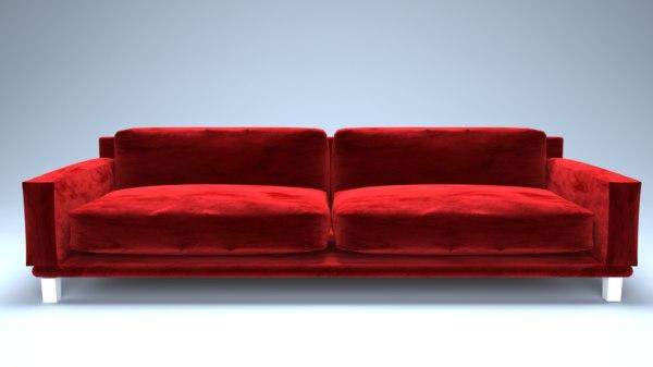 3D model velvet sofa architecture interior