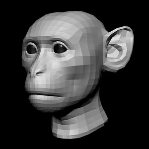 monkey head base mesh 3D model