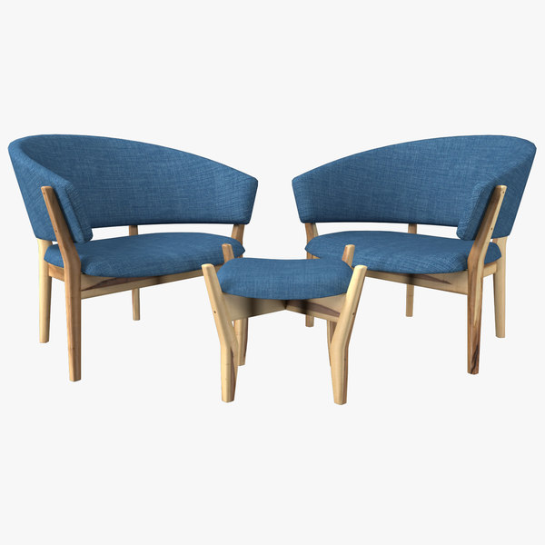 3D blue living room chair wood