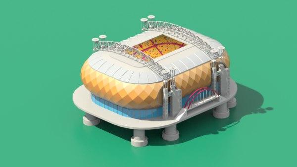 low-poly stadium amsterdam modeled 3D