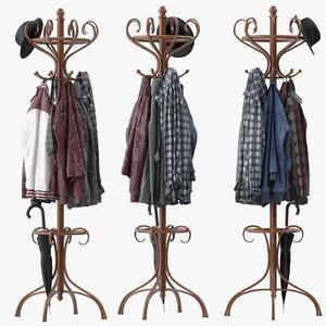 bentwood hat coat stand 3D model