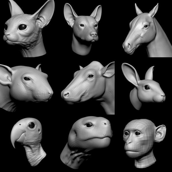 3D animal head base vol 1
