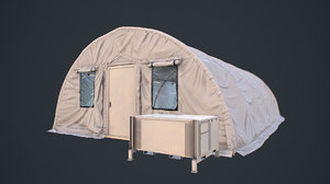 modern military tent videogame 3D model