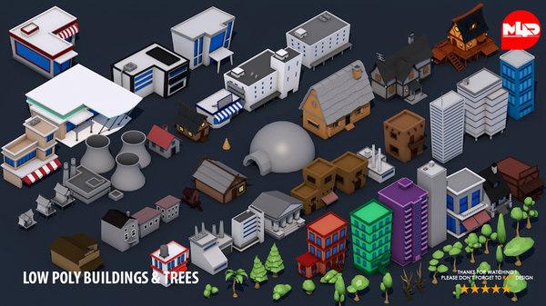 buildings trees 3D model