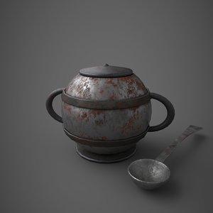 3D model medieval tavern soup pot
