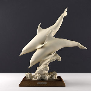3D classical sculptures dolphins model