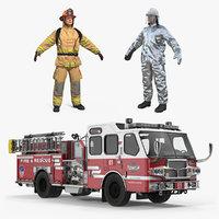 3D model pumper truck firefighters