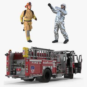 rigged pumper truck firefighters 3D
