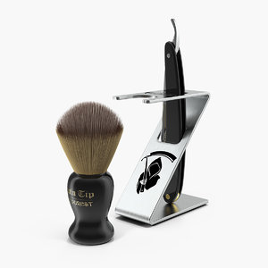 folding razor badger shaving 3D model