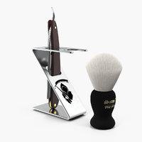 3D folding razor badger shaving model