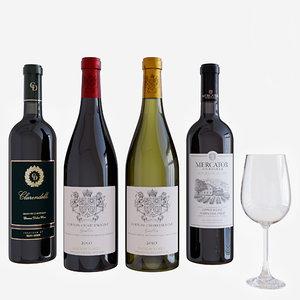 wine wineglass 3D model