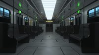 Subway Modern Train Interior with Leather Seats 3D model