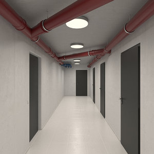 basement hallway hall 3D model