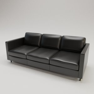 3D black leather sofa furniture