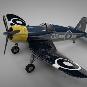 f4u corsair vought great britain 3D model