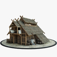 3D medieval viking house model