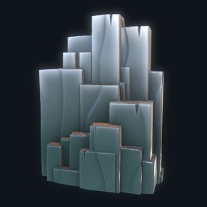 3D model cartoon rock cliff