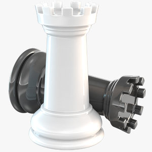 3D chessmen rook chess piece model