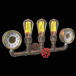 industrial wall pipe sconce 3D model