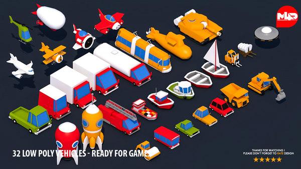 3D 32 vehicles -