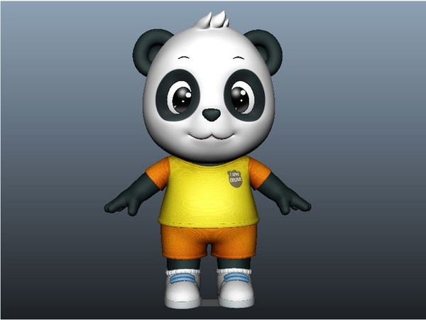 3D cute cartoon panda rigged