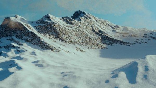 3D mountain landscape snow