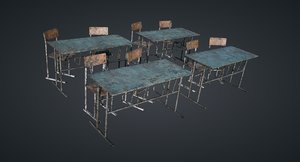 ready classroom chairs new 3D model