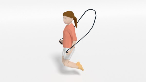 3D girl playing rope model